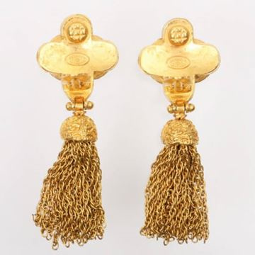 Chanel 1990s Quatre Foil and Tassel Gold Tone Earrings