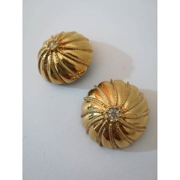 Nina Ricci 1990s button style swarovski crystal gold Tone vintage Clip-on earrings