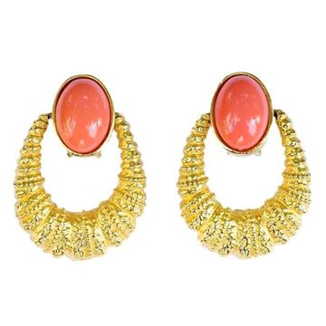 Kenneth Jay Lane 1980s Gold Tone & Faux Coral Vintage Hoop Earrings
