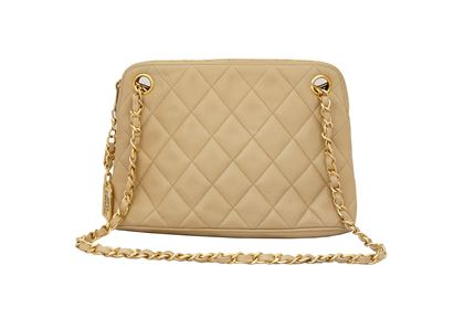 Chanel 1980s Quilted Leather Beige Vintage Shoulder Bag
