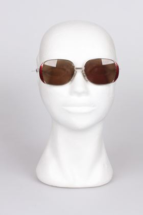 Christian Dior 1980s 2713 Enamelled Frame Red Vintage