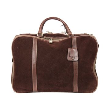 Gucci Suede and Leather Trim Brown Vintage Suitcase
