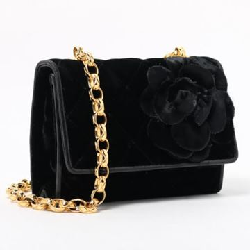 Chanel Camellia Black Velvet Bijoux Train Bag