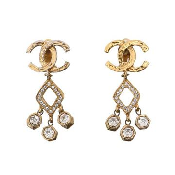 Chanel CC Logo Gold Tone Rhinestone Drop Earrings