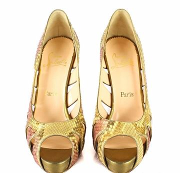Christian Louboutin Python Cut Out Peep Toe Yellow Vintage High Heel Shoes