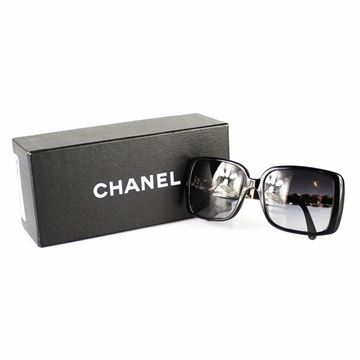 Chanel Leather and Gold Tone Chain Arm Black Vintage Sunglasses