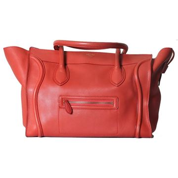 Celine Phantom Leather Red Vintage Luggage Bag