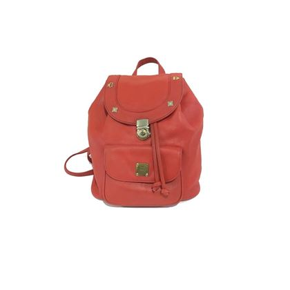 MCM Leather Charm Edge Red Vintage Back Pack