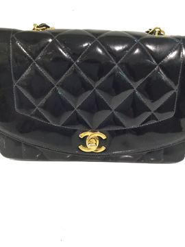 Chanel Quilted Patent Leather Blue Vintage Flap Bag
