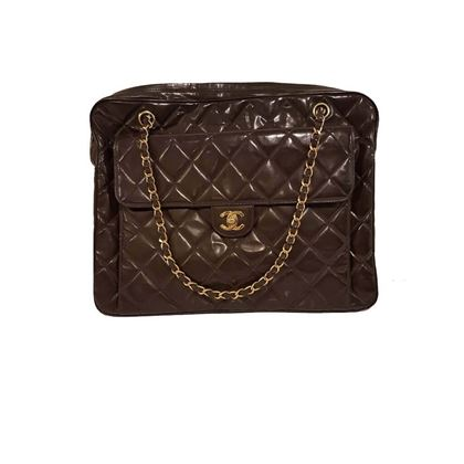 Chanel Quilted Patent Leather Brown Vintage Shoulder Bag
