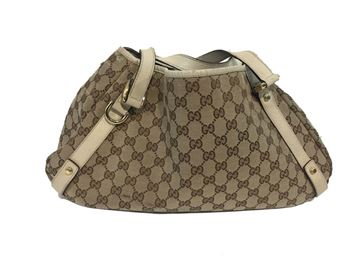 Gucci Monogram Canvas Beige Vintage Shoulder Bag