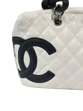 Vintage Chanel Quilted Monogram Embossed White Bowling Bag