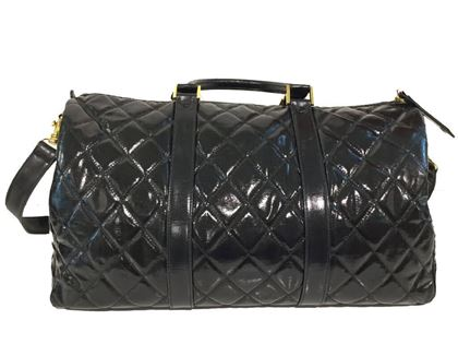 Chanel Black Keepall Vintage shoulder Bag with Strap