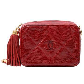 Chanel 1980s Quilted Red Lizard Camera Case Bag