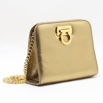 Salvatore Ferragamo Gold Leather Gancini Clasp Mini Shoulder Bag