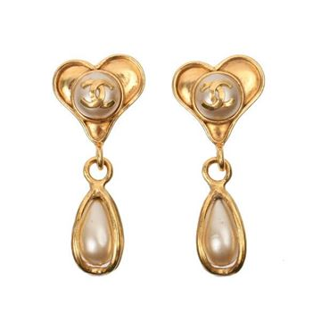Chanel 1990s Heart Top and Faux Pearl Drop Gold Tone Earrings
