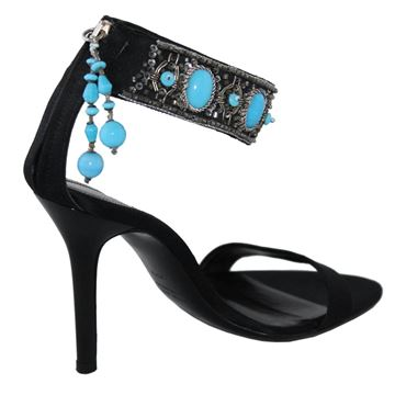 Sergio Rossi Turquoise beaded black high heeled sandals