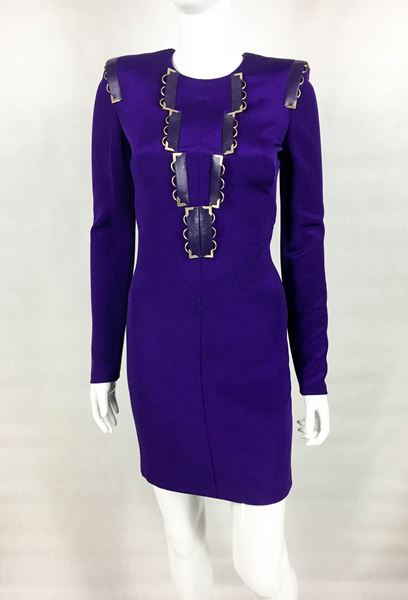 Versace Royal Purple Long Sleeves Body-Hugging Cocktail Dress - 2010s