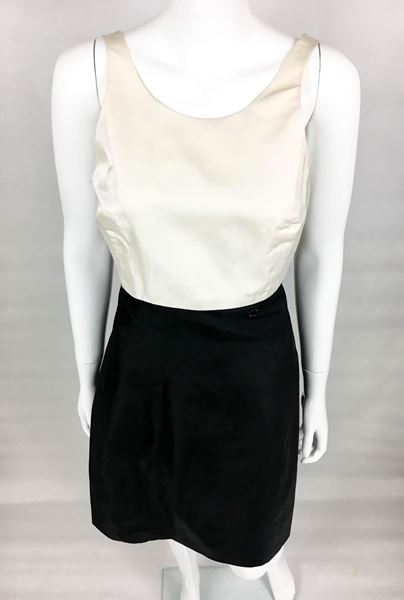 Chanel Black and White Silk Cocktail Dress - 2006