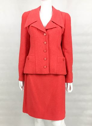 Chanel Runway S/S 1994 Boucle Wool Hot Pink vintage Suit