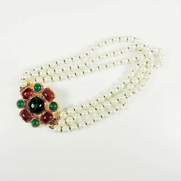 Chanel Pearl Glass Green Red Gripoix Multistrand Choker vintage necklace