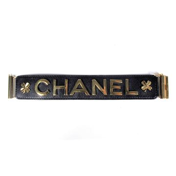 Chanel Leather Gold Clover Lucky Charm black vintage Cuff Bangle bracelet