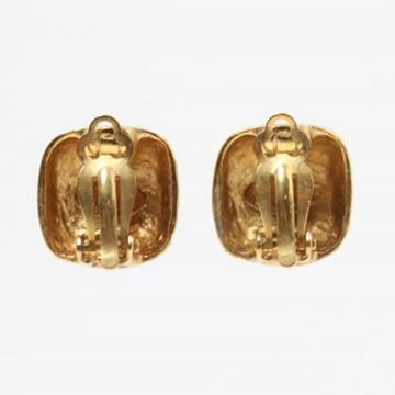 Chanel 1990s CC Mark Square Gold Tone Earrings