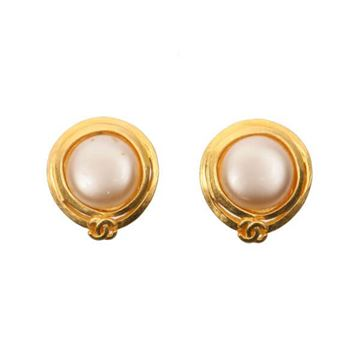 Chanel 1900s Round Faux Pearl and Gold Tone Earrings
