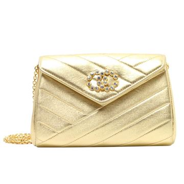 Chanel 1990s Quilted Gold Leather Rhinestone CC Mark Clutch Bag
