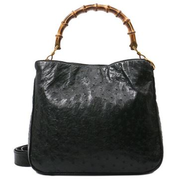 Gucci Bamboo Black Ostrich Leather Tote Bag
