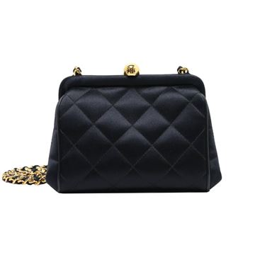 Chanel Quilted Satin Clip Top Black Evening Bag