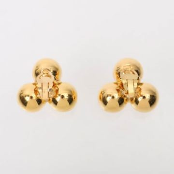 Chanel Three Bal CC Mark Gold Tone Earrings