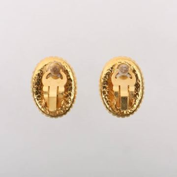 Chanel 1990s Oval CC Mark Gold Tone Earrings