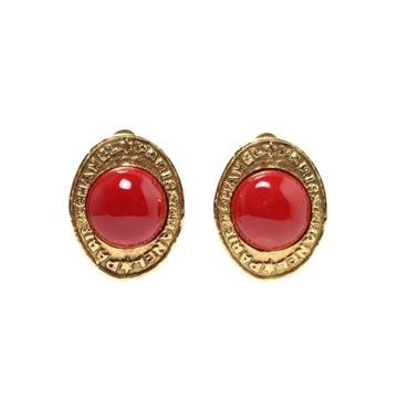 Chanel Oval Coral Glass Centre Gold Tone Earrings
