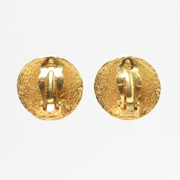 Chanel Large Round Woven Texture CC Logo Gold Tone Earrings