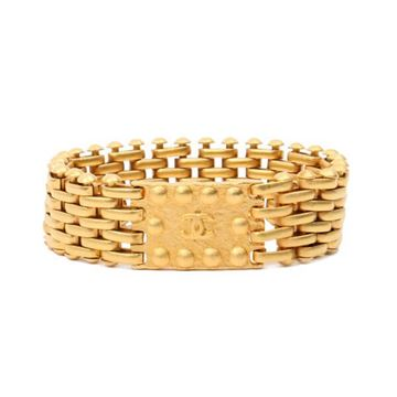 Chanel 1990s Gold Tone Plate Chain Bracelet