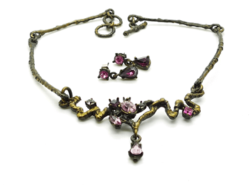Christian Lacroix Crystal gold & purple vintage necklace & earring set