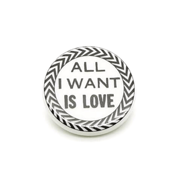 Christian Lacroix Retro All I Want is Love Black & White vintage Brooch