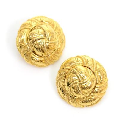 Chanel Gold Tone CC Logo Round Knot Earrings