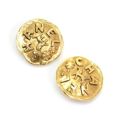 Vintage Chanel Gold Tone Round Logo Earrings
