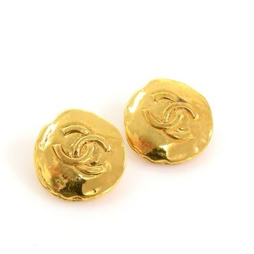 Chanel Gold Tone CC Logo Vintage Round Earrings