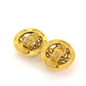 Chanel Vintage Gold Tone CC Logo Round Vlip On Earrings