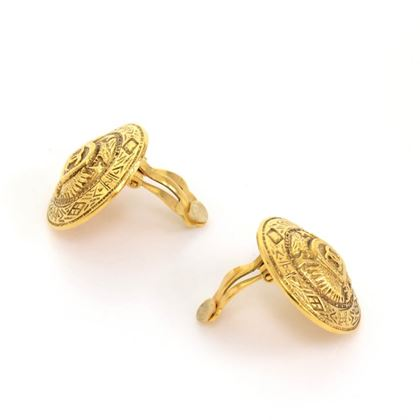 Chanel Aztec Medallion Gold Tone Round Earrings