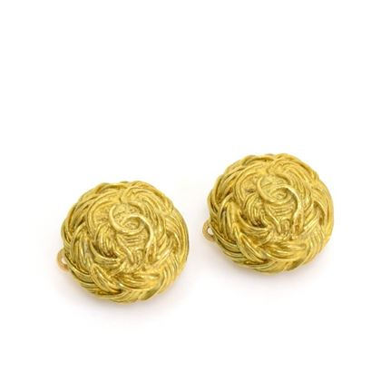 Chanel 1990s Plaited Strand Gold Tone CC Logo Round Earrings