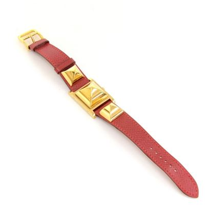 hermes-medor-pm-red-leather-x-gold-tone-wrist-watch