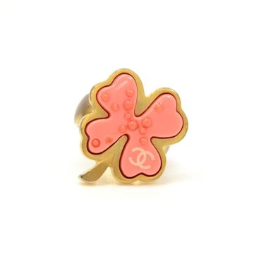 Chanel Pink Camellia Gold Tone vintage Ring