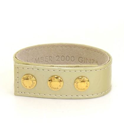 Louis Vuitton Lime Green Vernis Monogram Leather Cuff Bracelet