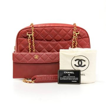 Chanel Red Quilted Leather & Gold Tone Chain vintage Shoulder Bag & Wallet