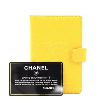Chanel Caviar Leather 5 Gold Tone Rings Small Agenda yellow clutch bag