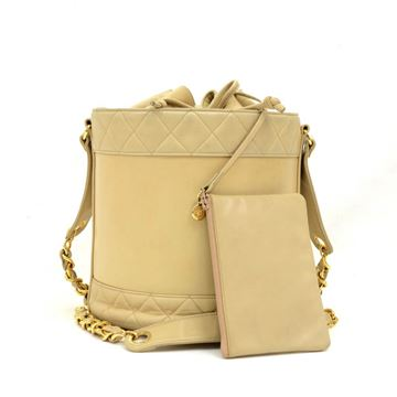 Chanel Beige Leather Large Vintage Bucket Shoulder Bag